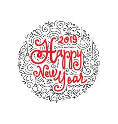 happy new year 2019 doodle greeting card with vector image