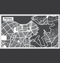Havana cuba city map in retro style outline map vector