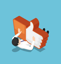 Isometric businessman being crushed like vector