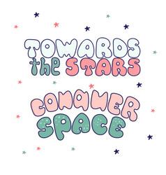 Kawaii cartoon letters the inscription conquer vector