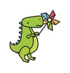 kids toy green dinosaur with pinwheel toys vector image