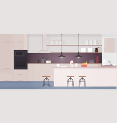 kitchen interior with table stove and fridge vector image