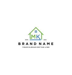 Letter mk home logo design vector