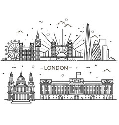 linear banner london city vector image