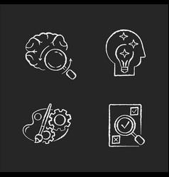 Logical mind chalk white icons set on black vector