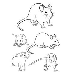 Mice line art 02 vector