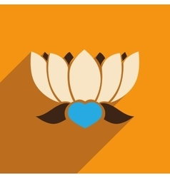 Modern flat icon with long shadow Indian lotus vector