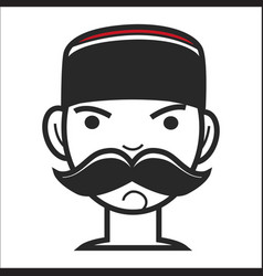 montenegrin man with mustache in traditional hat vector image