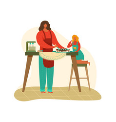 Mother and daughter cooking baking cake together vector