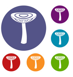 mushroom russet icons set vector image