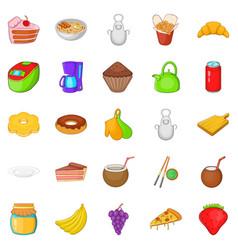 nosh icons set cartoon style vector image