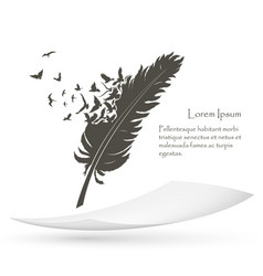 Old feather with flying birds and paper vector