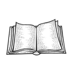 Open book sketch engraving vector