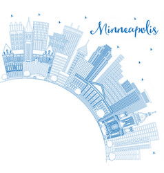 outline minneapolis minnesota skyline with blue vector image