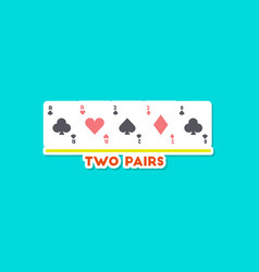 Paper sticker on stylish background poker two vector