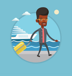 passenger with suitcase going to shipboard vector image