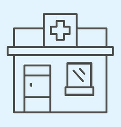 Pharmacy shop thin line icon private drugstore vector