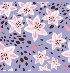 pink lily on blue background pattern vector image