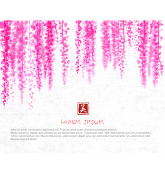 Pink wisteria blossom on white rice paper vector