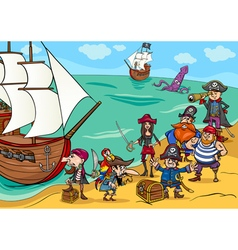 pirates with ship cartoon vector image