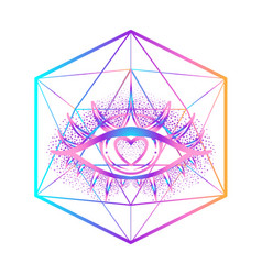rainbow gradient tattoo flash eye providence vector image
