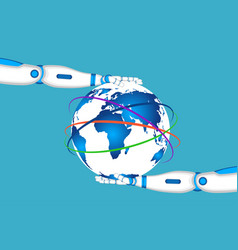 robot hands holding world globe vector image