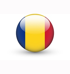 Round icon with national flag of Romania vector image