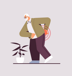 Senior man suffering from back pain old age vector