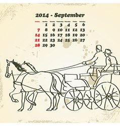 September 2014 hand drawn horse calendar vector image