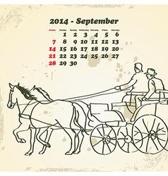 September 2014 hand drawn horse calendar vector image vector image