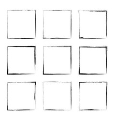 set hand drawn rectangle frame vector image