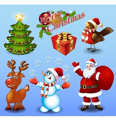 Set of design elements Christmas tree gift bullfin vector image
