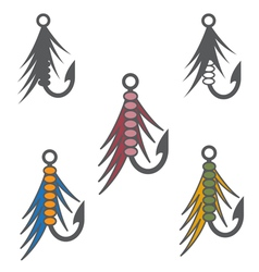 Set of fishing hooks and lures design template vector
