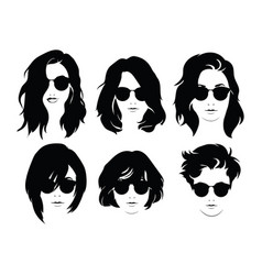 Set of hairstyles for women with glasses vector