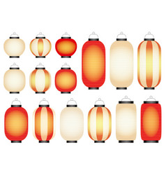 set of paper lanterns vector image