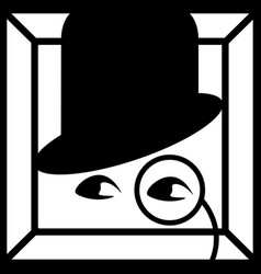 simple black and white icon - eyes gentleman vector image