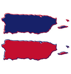 simplified map of puerto rico outline fill and vector image