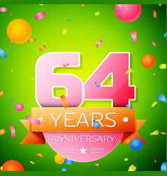 sixty four years anniversary celebration design vector image