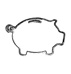 Skech piggy bank money vector