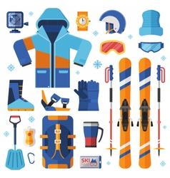 Skiing Equipment Set vector image