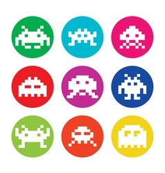 Space invaders 8bit aliens round icons set vector