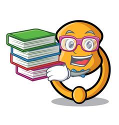 Student with book vintage door knocker on mascot vector