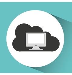 Technology monitor pc cloud vector