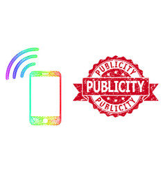 Textured publicity stamp and rainbow hatched vector