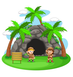 Two adventurer in front cave vector