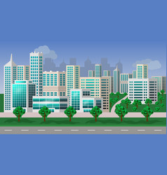 Urban landscape- modern city with skyscrapers vector