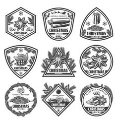 Vintage monochrome christmas spices labels set vector