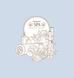vintage sketch with spa treatments vector image