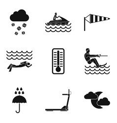 Water load icons set simple style vector