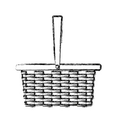 wicker basket camping cartoon icon symbol empty vector image